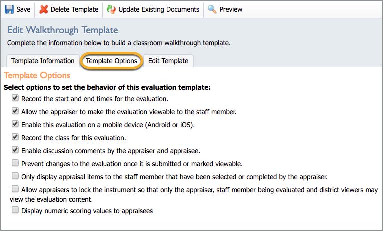 Update Evaluation Templates – Eduphoria!