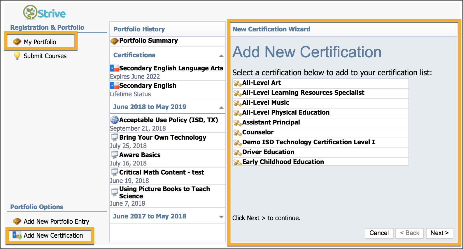 Manage Your Certifications In Your Portfolio Eduphoria