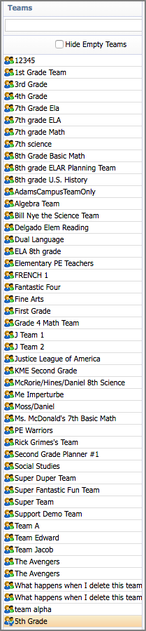 team teacher names